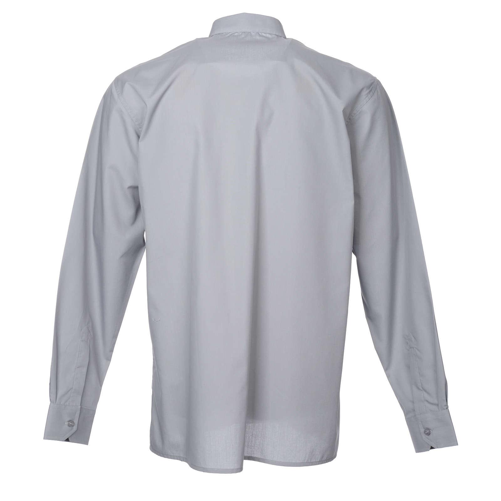 STOCK Camicia clergy manica lunga misto grigio chiaro 4