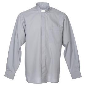 STOCK Camicia clergy manica lunga misto grigio chiaro s1