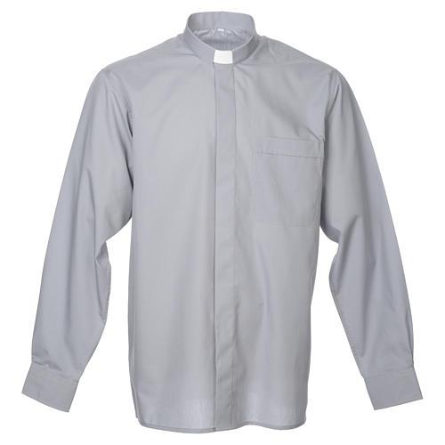 STOCK Camicia clergy manica lunga misto grigio chiaro 1
