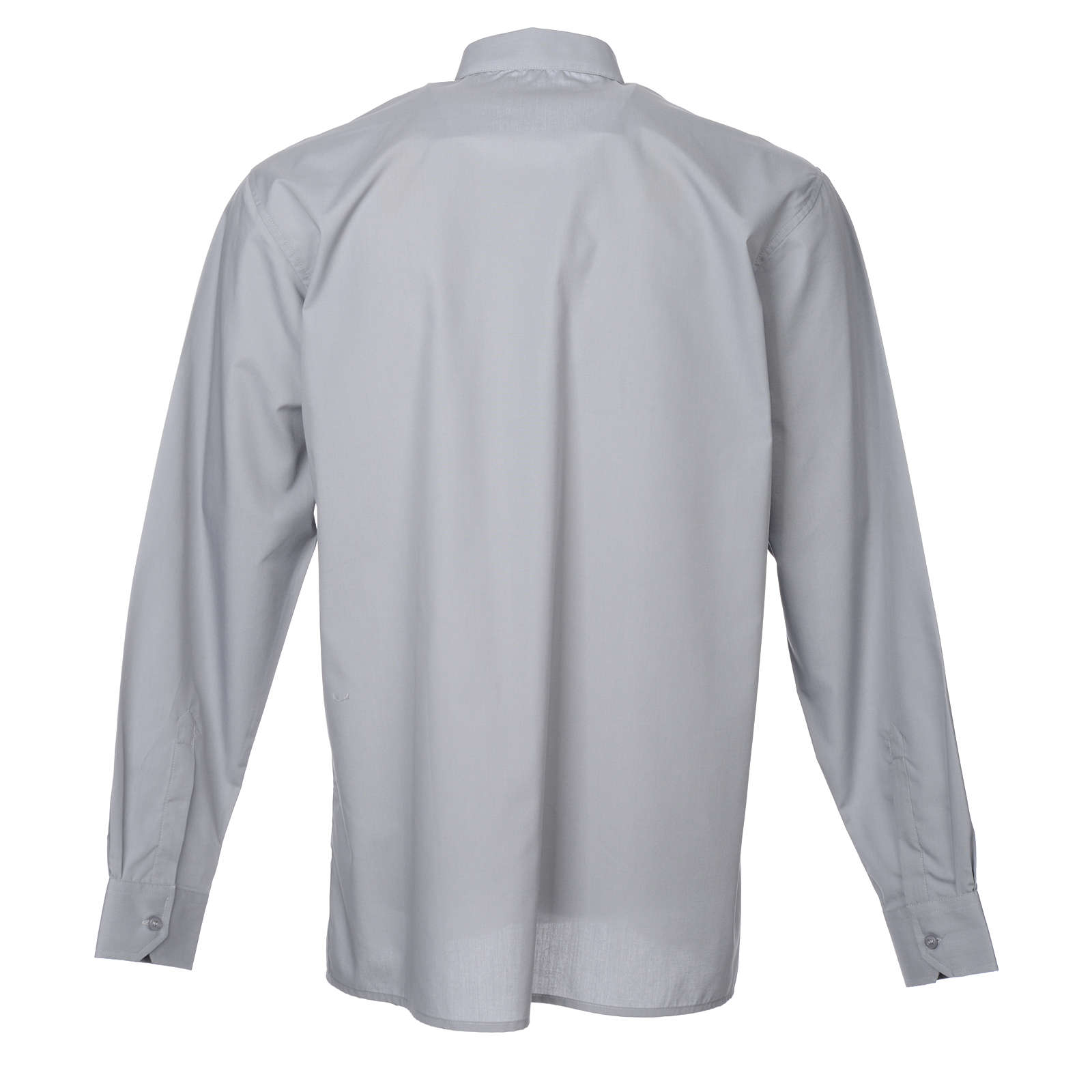 STOCK Clergy shirt in light grey mixed cotton, long sleeves 4