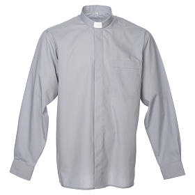 STOCK Clergy shirt in light grey mixed cotton, long sleeves s1
