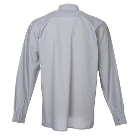 STOCK Clergy shirt in light grey mixed cotton, long sleeves s2