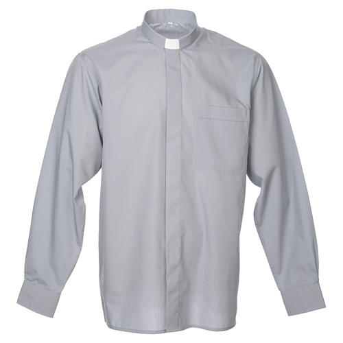 STOCK Clergy shirt in light grey mixed cotton, long sleeves 1