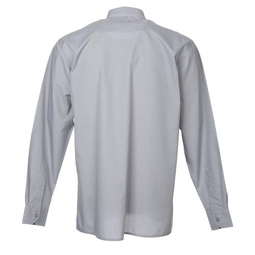 STOCK Clergy shirt in light grey mixed cotton, long sleeves 2