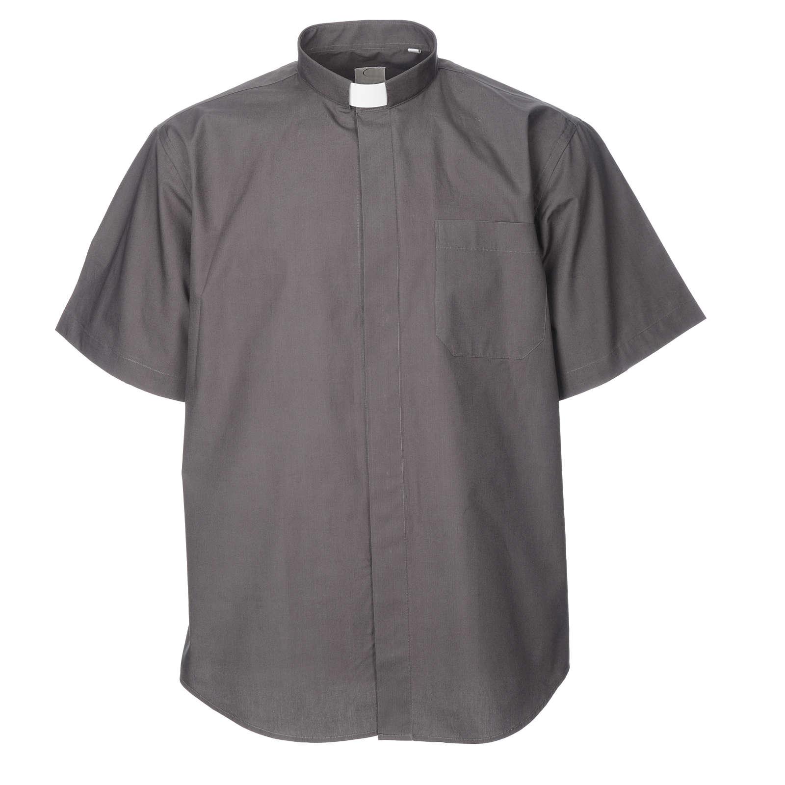 STOCK Camicia clergyman manica corta popeline grigio scuro 4
