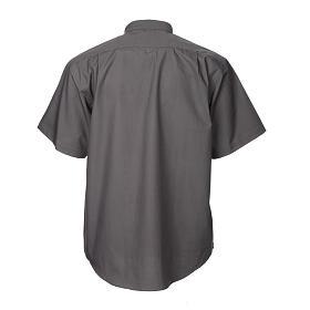 STOCK Camicia clergyman manica corta popeline grigio scuro s2