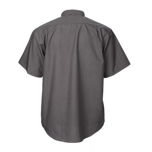 STOCK Camicia clergyman manica corta popeline grigio scuro 2