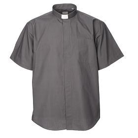 STOCK Camisa clergyman m/c popeline cinzento escuro s1