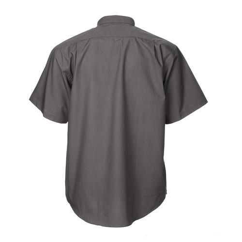 STOCK Camisa clergyman m/c popeline cinzento escuro 2