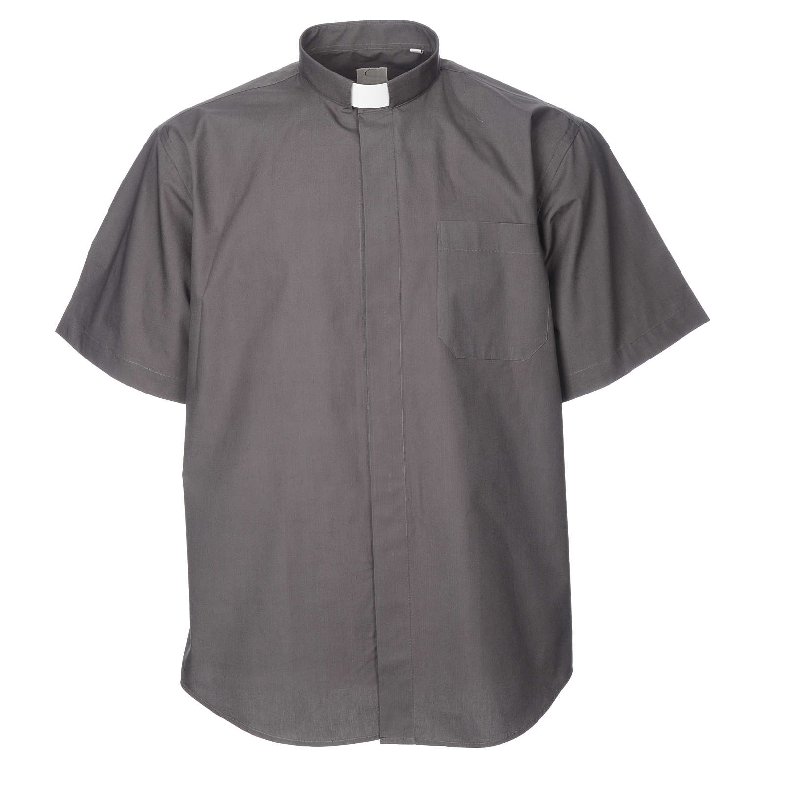 STOCK Clergyman shirt, short sleeves, dark grey poplin 4