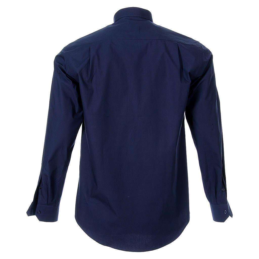 STOCK Camisa clergy manga larga popelina azul 4