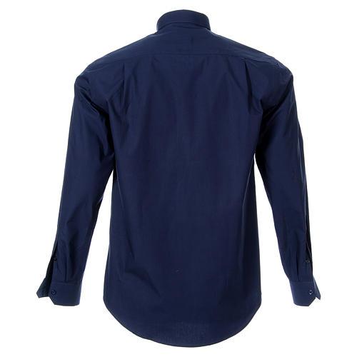 STOCK Camisa clergy manga larga popelina azul 2