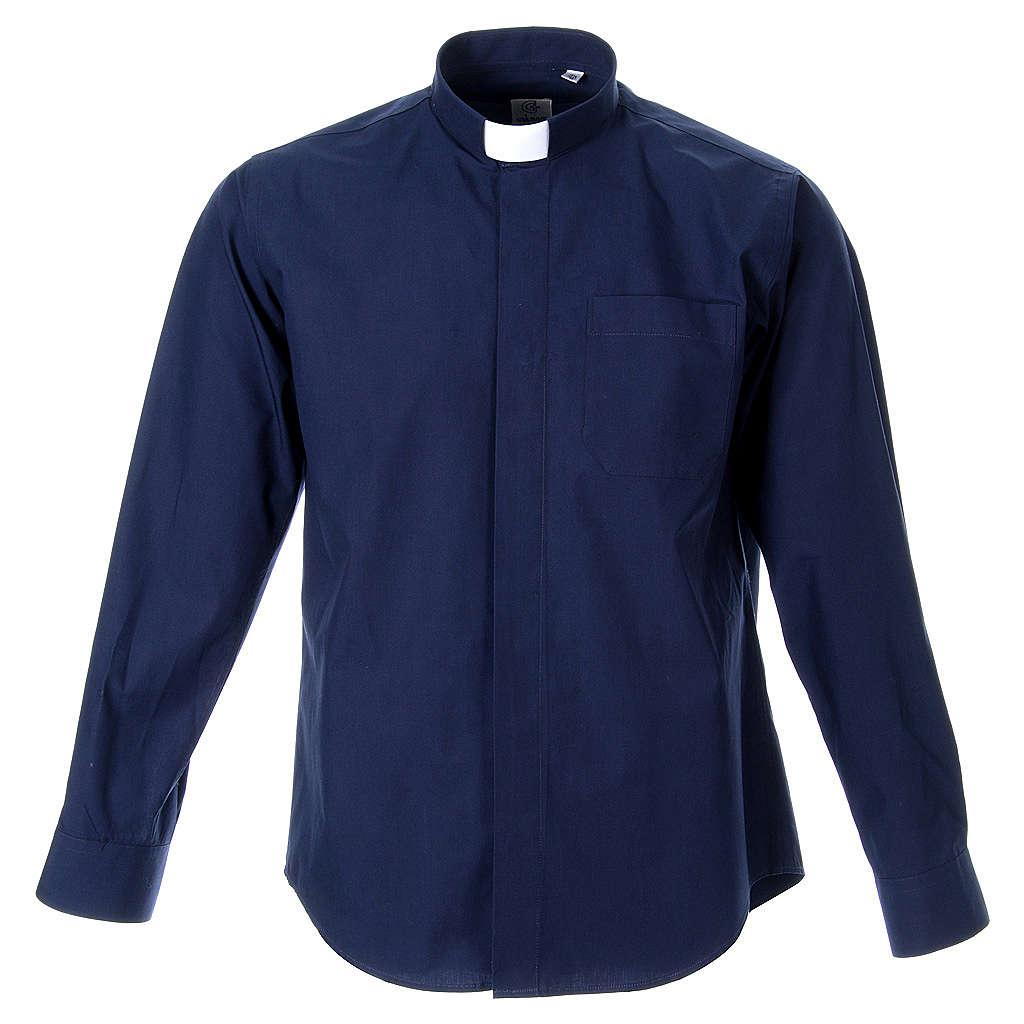 STOCK Camicia clergy manica lunga popeline blu 4
