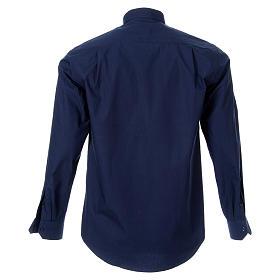 STOCK Camicia clergy manica lunga popeline blu s2