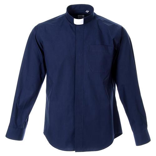 STOCK Camicia clergy manica lunga popeline blu 1