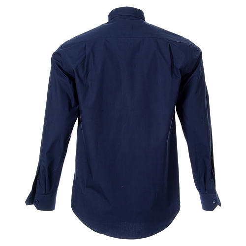 STOCK Camicia clergy manica lunga popeline blu 2