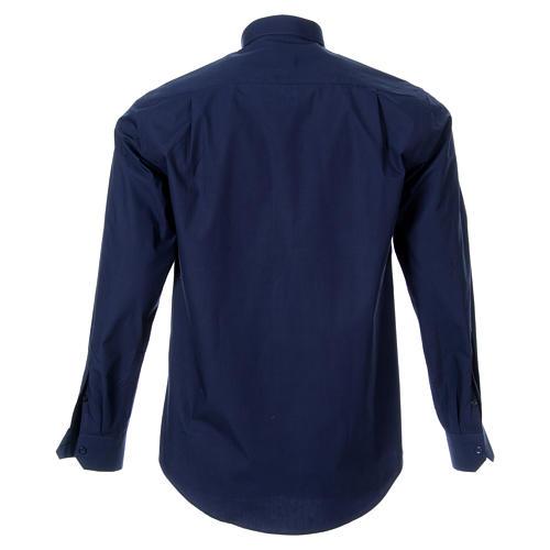 STOCK Koszula kapłańska długi rękaw popelina niebieska 2