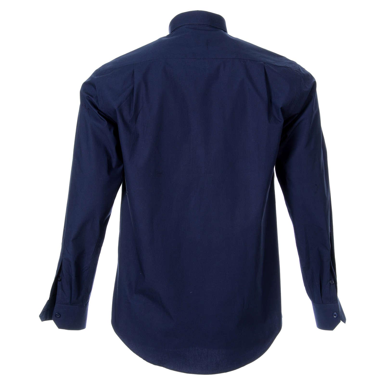 STOCK Camisa clergyman m/l popeline azul escuro 4