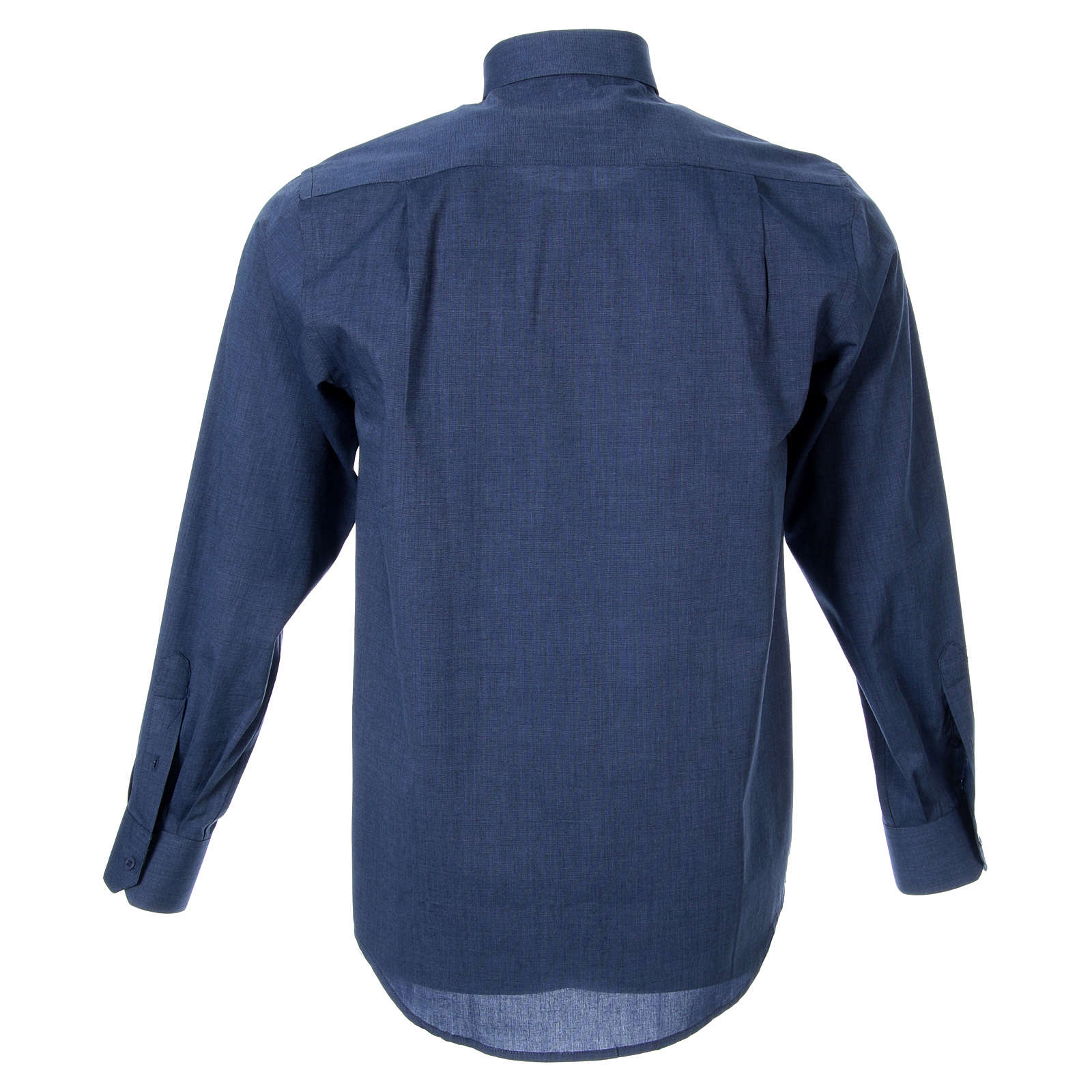 STOCK clergy shirt, long sleeves blue end-on-end 4