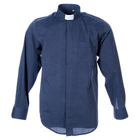 STOCK clergy shirt, long sleeves blue end-on-end s1
