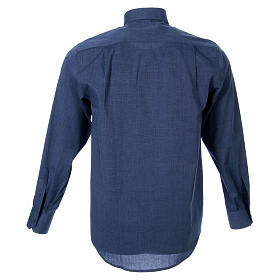 STOCK clergy shirt, long sleeves blue end-on-end s2