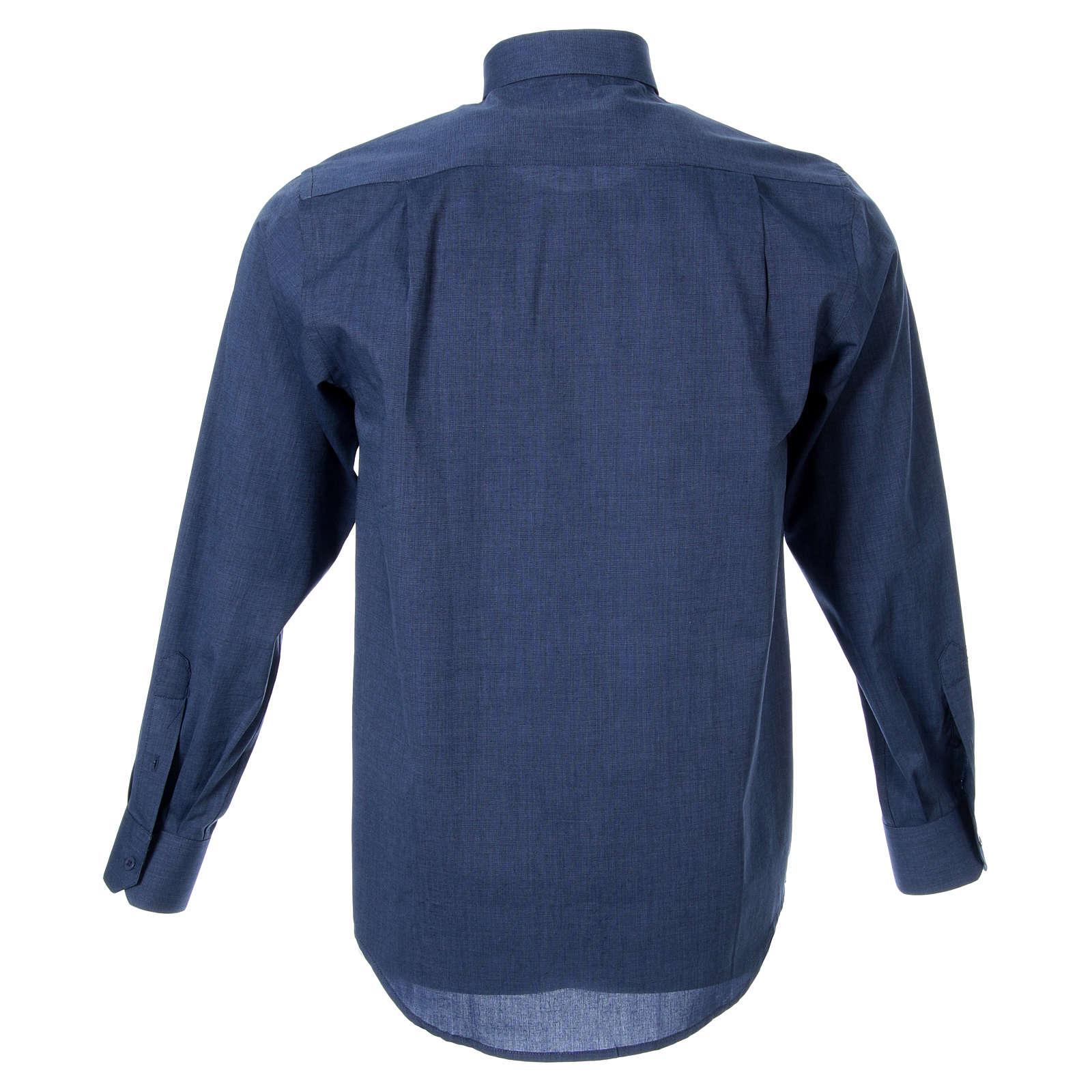 STOCK Camicia clergy manica lunga filafil blu 4