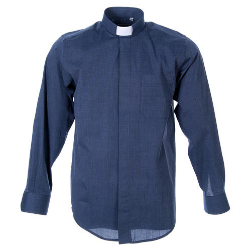 STOCK clergy shirt, long sleeves blue end-on-end 1