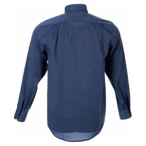 STOCK clergy shirt, long sleeves blue end-on-end 2