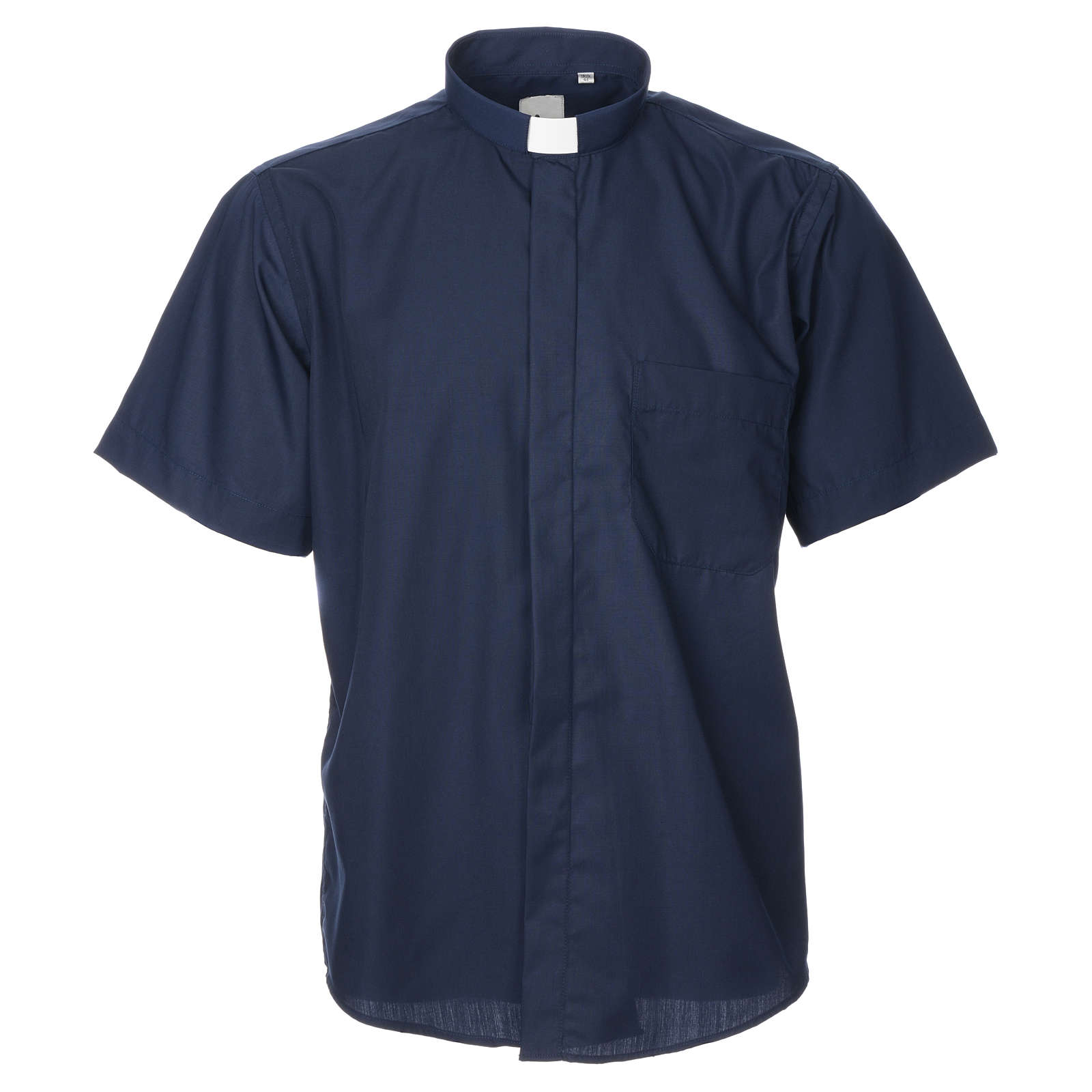 STOCK Clergyman shirt, short sleeves, blue mixed cotton 4