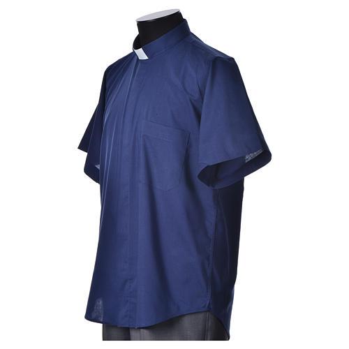 STOCK Clergyman shirt, short sleeves, blue mixed cotton 5