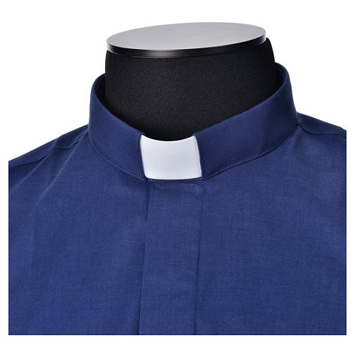 STOCK Clergyman shirt, short sleeves, blue mixed cotton 6