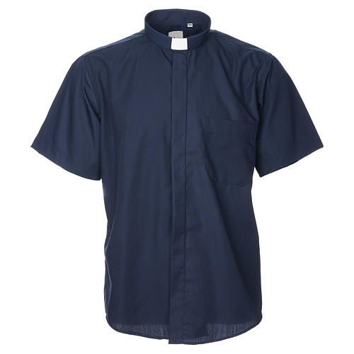 STOCK Clergyman shirt, short sleeves, blue mixed cotton 1