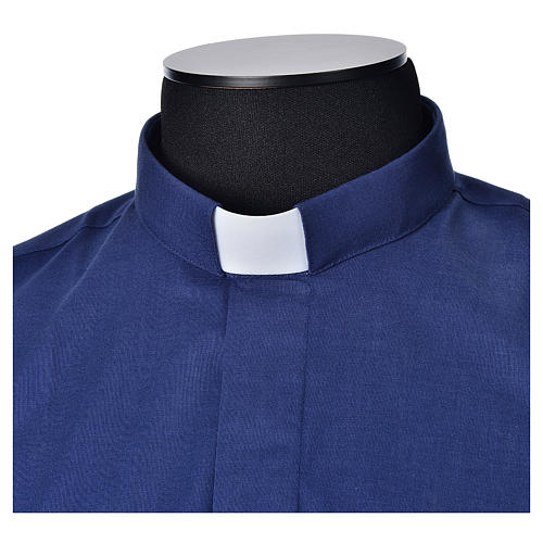 STOCK Clergyman shirt, short sleeves, blue mixed cotton 3