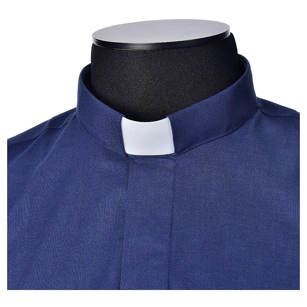 STOCK Camisa clergy manga corta, mixto algodón azul 4