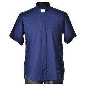 STOCK Camicia clergy manica corta misto blu s4