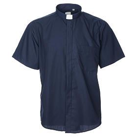 STOCK Camicia clergy manica corta misto blu s7