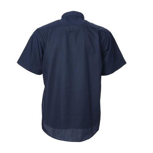 STOCK Clergyman shirt, short sleeves, blue mixed cotton 2