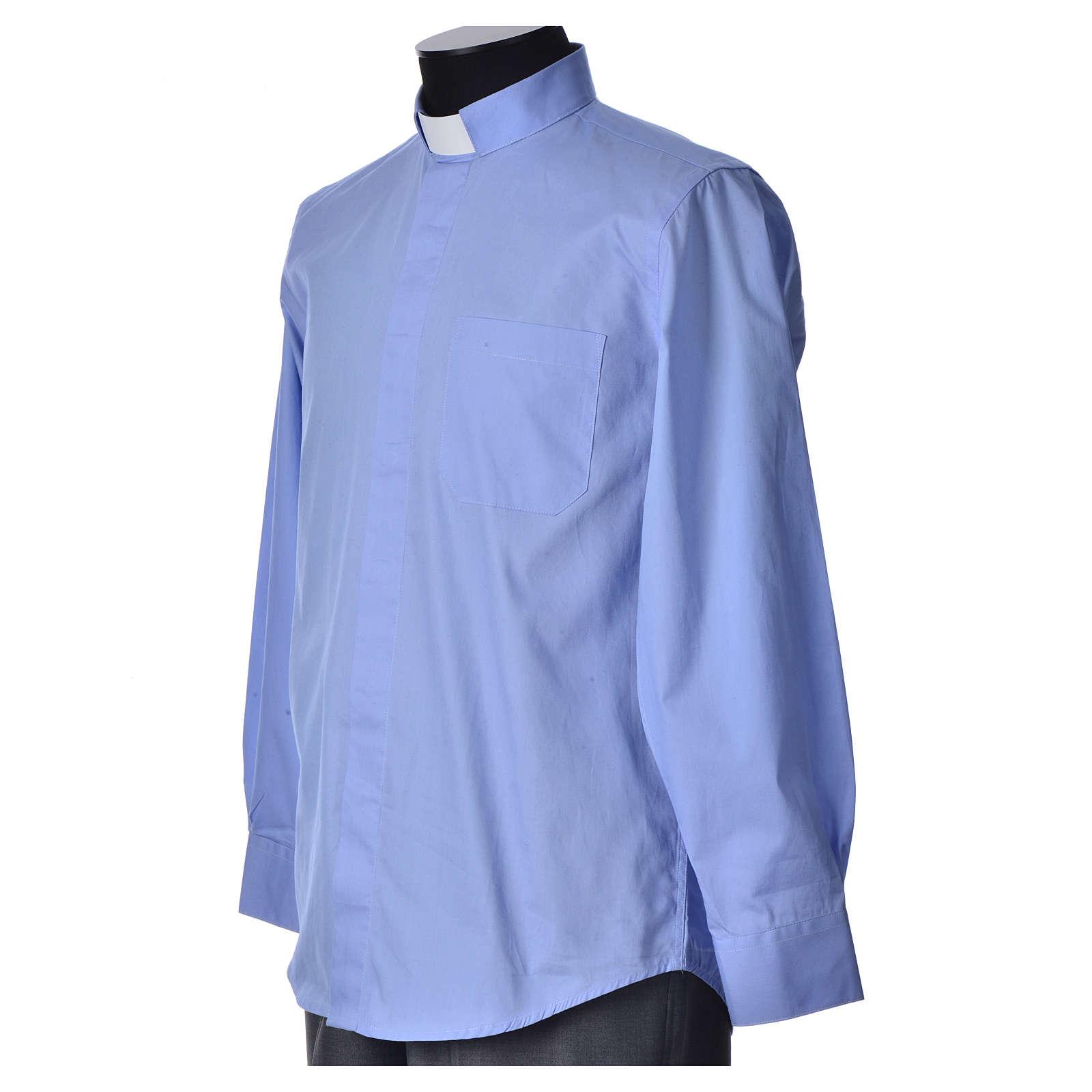 STOCK Camicia clergy manica lunga popeline azzurro 4