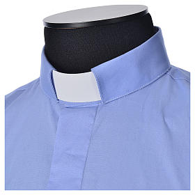 STOCK Camicia clergy manica lunga popeline azzurro s3