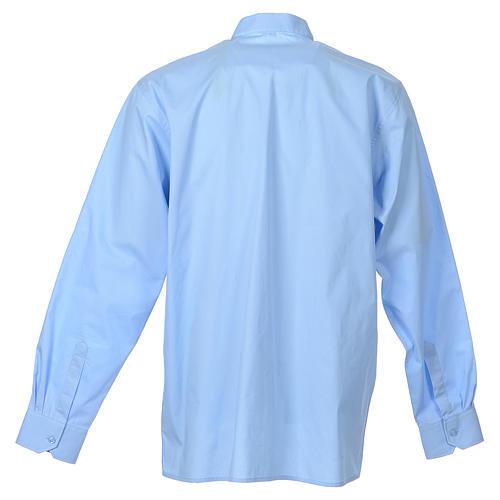 STOCK Camicia clergy manica lunga popeline azzurro 2