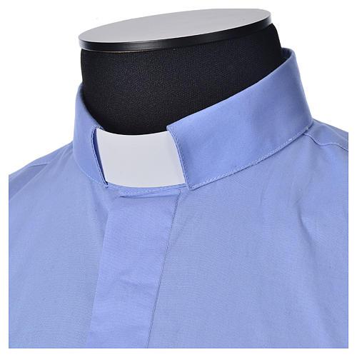 STOCK Camicia clergy manica lunga popeline azzurro 3