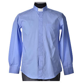 STOCK Clergyman shirt, long sleeves in light blue popeline s4