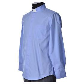 STOCK Clergyman shirt, long sleeves in light blue popeline s5