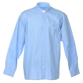 STOCK Clergyman shirt, long sleeves in light blue popeline s7