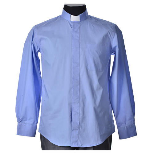 STOCK Clergyman shirt, long sleeves in light blue popeline 4