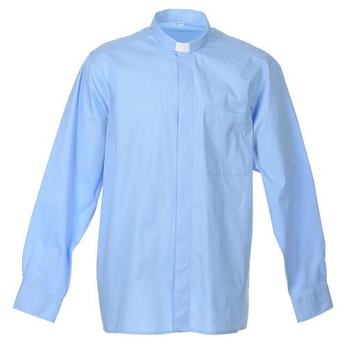 STOCK Clergyman shirt, long sleeves in light blue popeline 1