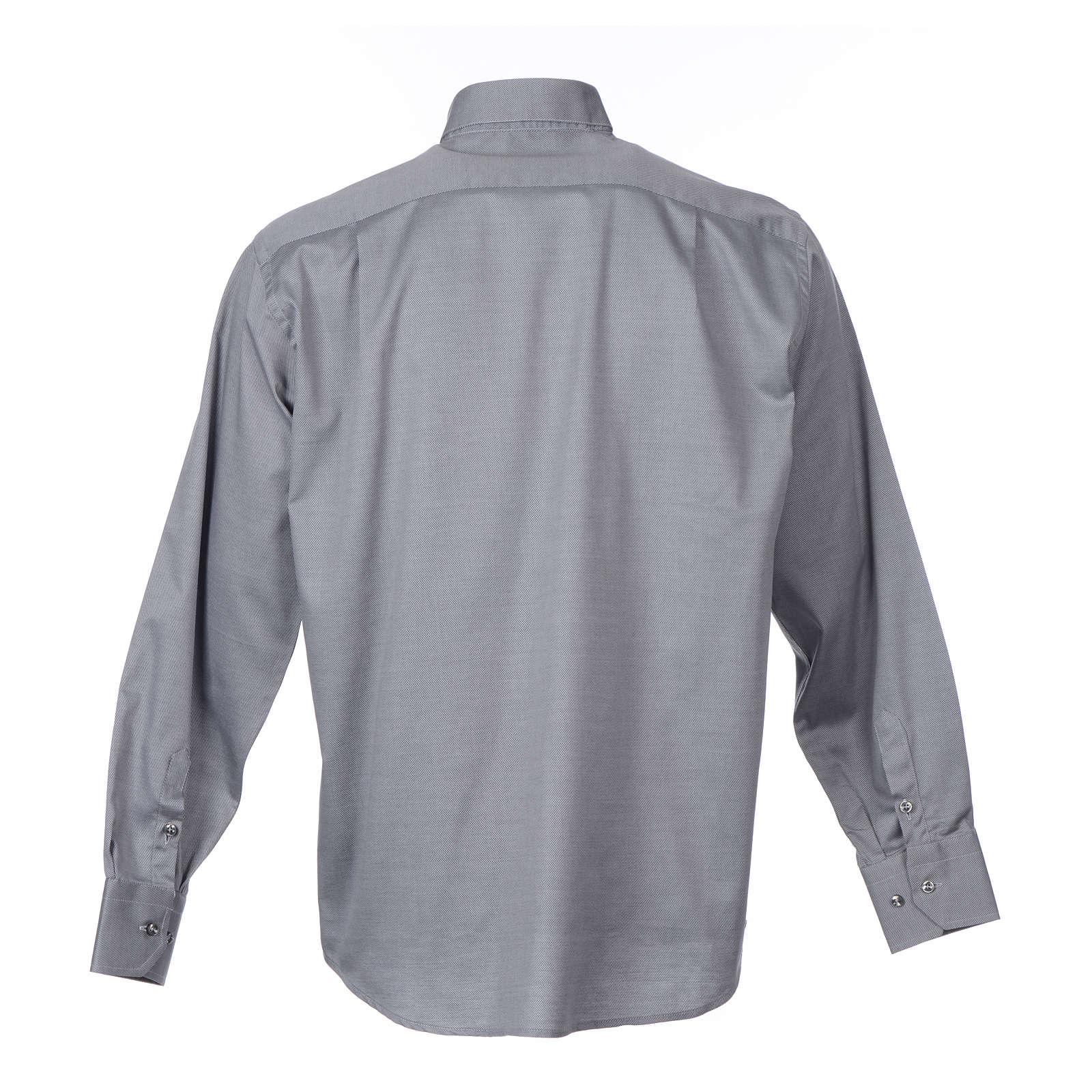 Collarhemd mit Langarm aus leicht zu bügelnden Baumwoll-Polyester-Mischgewebe mit Diagonalmuster in der Farbe Grau 4