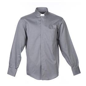 Collarhemd mit Langarm aus leicht zu bügelnden Baumwoll-Polyester-Mischgewebe mit Diagonalmuster in der Farbe Grau s1