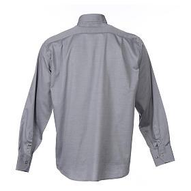 Collarhemd mit Langarm aus leicht zu bügelnden Baumwoll-Polyester-Mischgewebe mit Diagonalmuster in der Farbe Grau s2