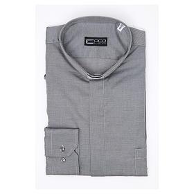 Collarhemd mit Langarm aus leicht zu bügelnden Baumwoll-Polyester-Mischgewebe mit Diagonalmuster in der Farbe Grau s3